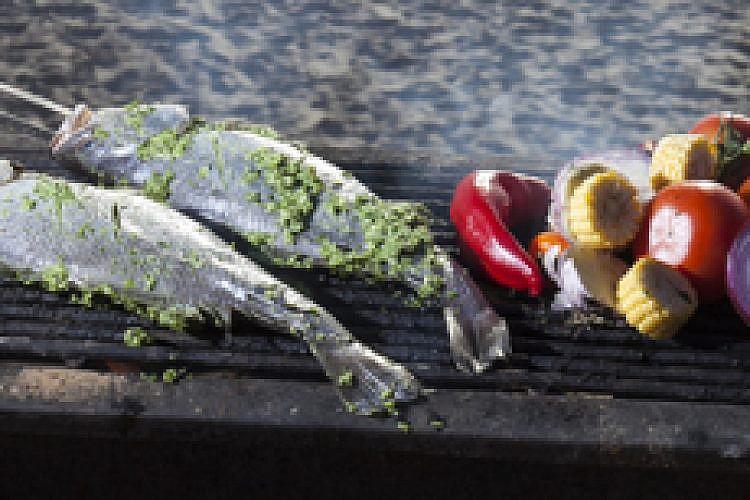 דג במרינדת גפנים. צילום: אנטולי מיכאלו