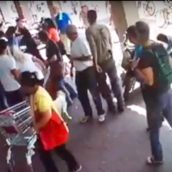 תקיפת העובד בתל אביב (מצלמות אבטחה)