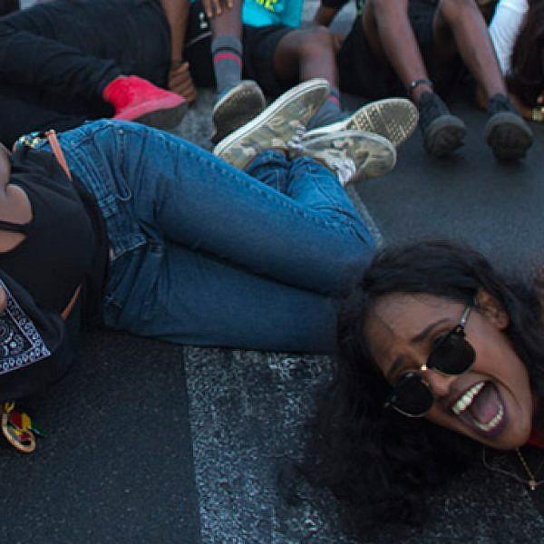 מחאת האתיופים, אתמול (צילום: אורן זיו)