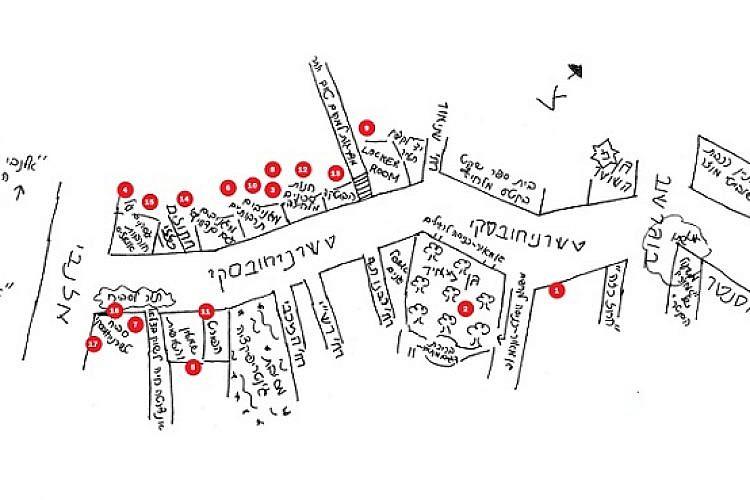 מפת רחוב טשרניחובסקי בתל אביב (איור: אמנון הררי)