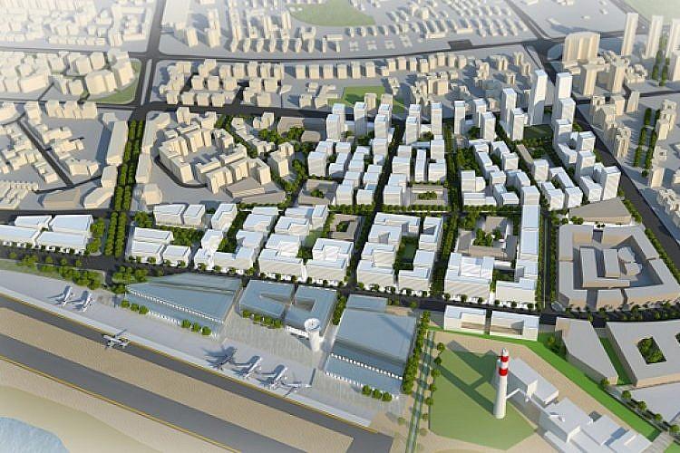 הדמייה של תכנית העירייה של שדה דב (בר לוי דיין אדריכלים ומתכנני ערים)