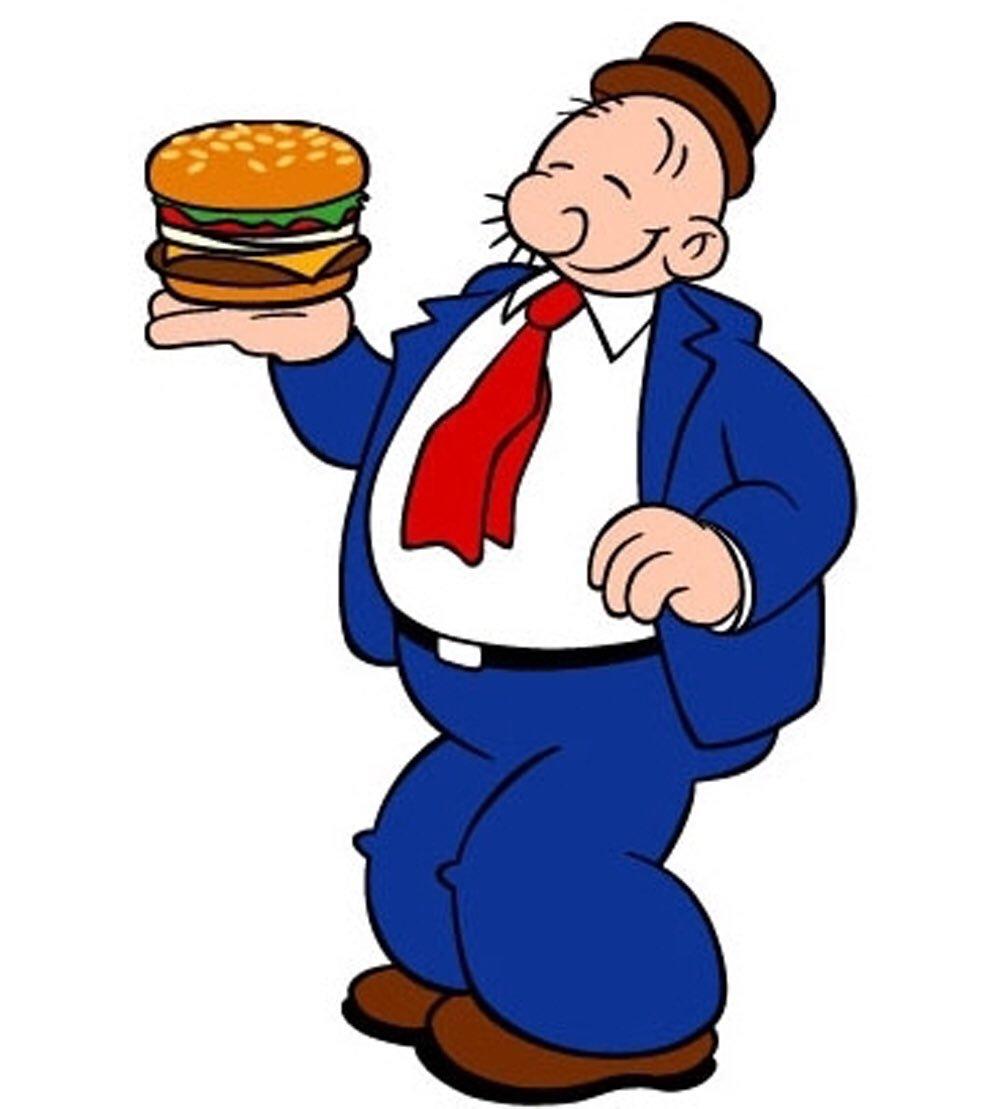 ווימפי נהנה מהמבורגר