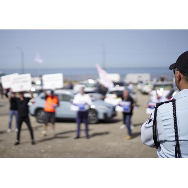 התאספות העצמאים היום בחוף מנדרין בתל אביב, בדרך לעלייה לירושלים (צילום: מתן כצמן)