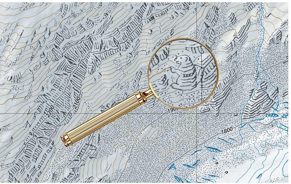 האיורים הנסתרים במפת שוייץ (צילום מסך מאתר eyeondesign)