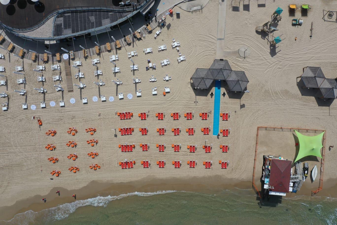 ריחוק חברתי על החוף, ככה זה נראה. מתווה העירייה לפתיחת החופים (צילום רחפן: אילן שפירא)