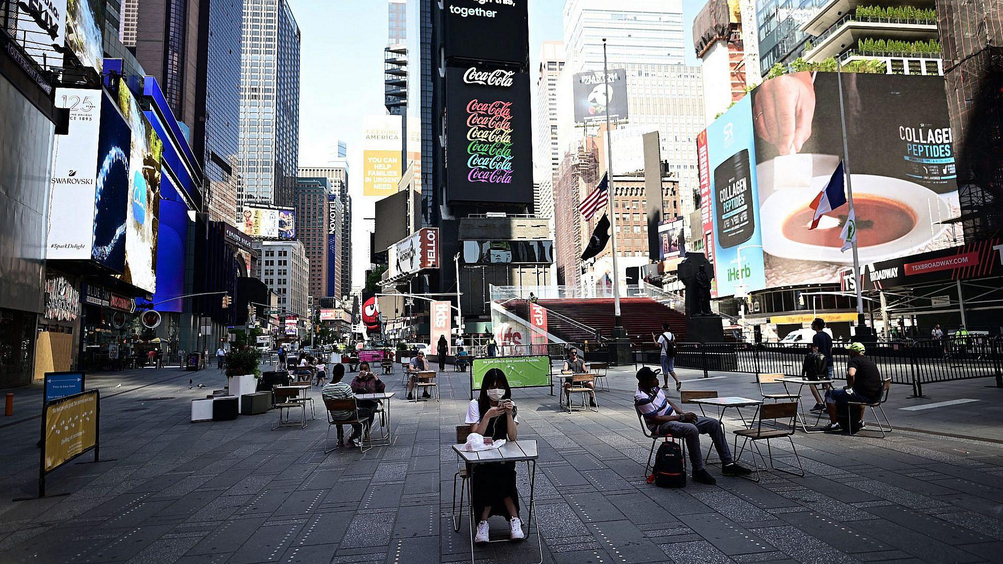 להשתלט מחדש על המרחב הציבורי. מסעדת פופ-אפ בטיימס סקוור, ניו יורק (צילום: גטי אימג'ס)