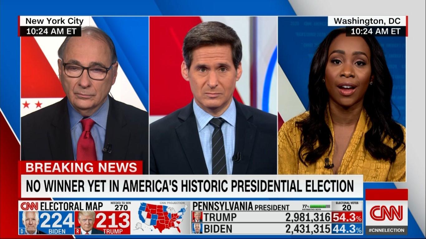 נתונים ועובדות במקום נועה תשבי. משדר הבחירות של CNN (צילום מסך)