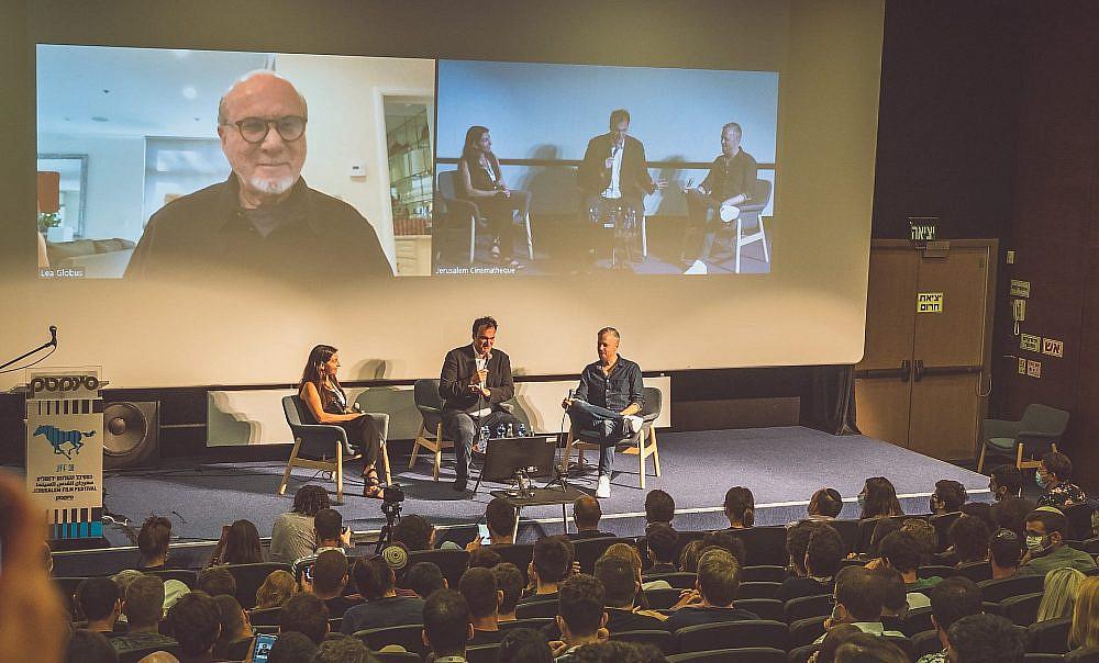 קוונטין טרנטינו בפאנל בפסטיבל הקולנוע בירושלים (צילום: איתמר גינצבורג)